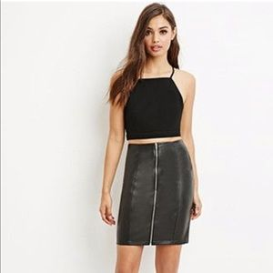 Forever 21 Faux Leather Front Zip Skirt